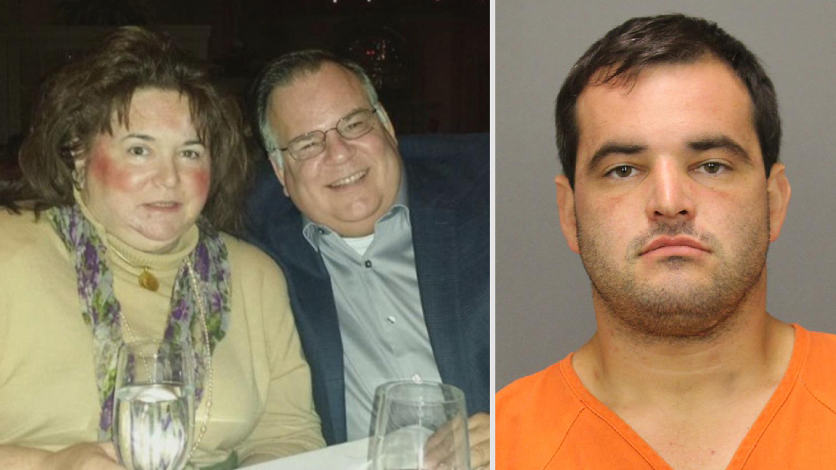 Rosemarie and Ed Coles (left) were found dead inside their West Deptford, New Jersey, home Friday, August 26, 2016, police said. Their son, Ryan (right, in a booking photo), was charged with their deaths.