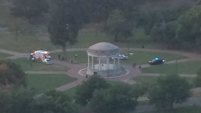 A photo from above the shooting scene on Boston Common.