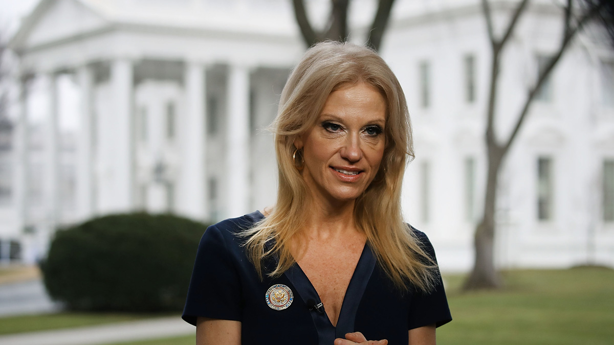 Counselor to President, Kellyanne Conway, prepares to appear on the Sunday morning show Meet The Press, from the north lawn at the White House, January 22, 2017 in Washington, DC. Conway discussed President Trump's recent visit to the CIA and White House Press Secretary Sean Spicer's first statement, describing his comments as