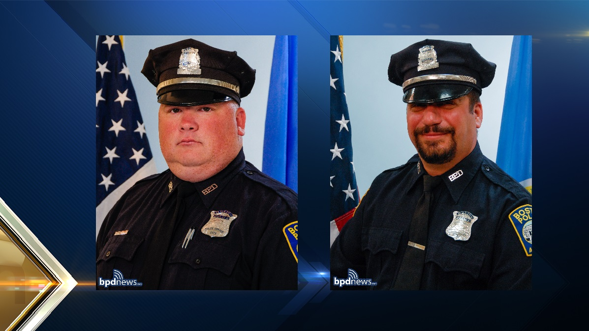 Officers Matthew Morris, left, and Richard Cintolo, were injured in a shooting in East Boston on Wednesday night.