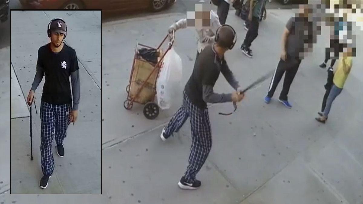 Police released these images of the suspect who attacked an elderly man with a cane.