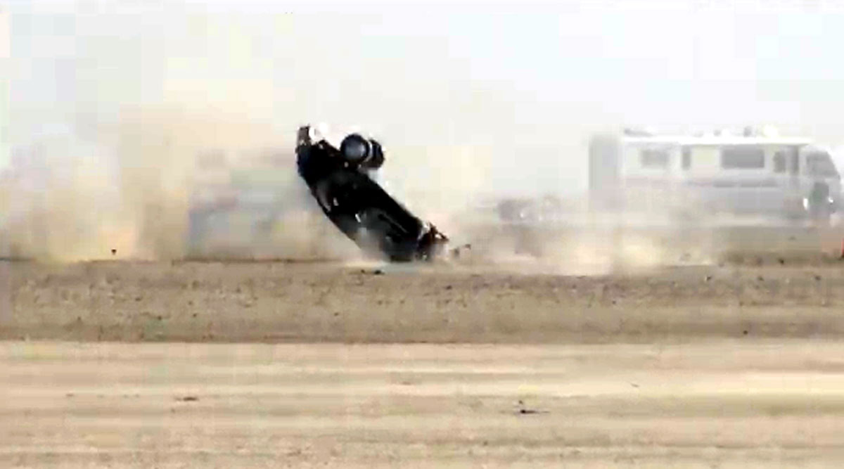 This crash Nov. 10, 2013 during a speed trial event in the California desert was captured on video.