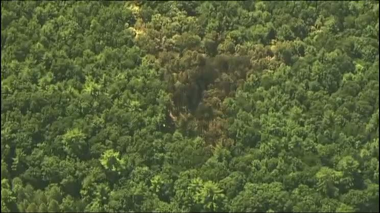 An aerial photo of the crash site.