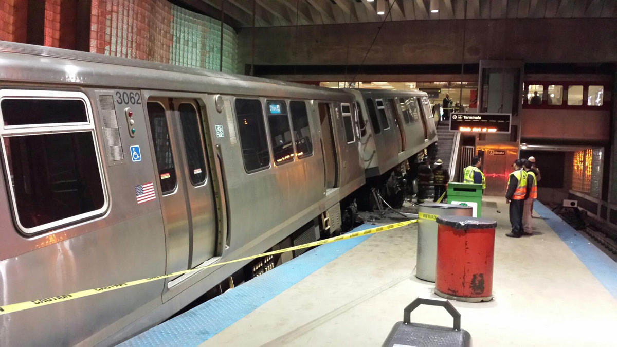 The train jumped the track and landed on the stairwell and escalator leading into O'Hare Airport.