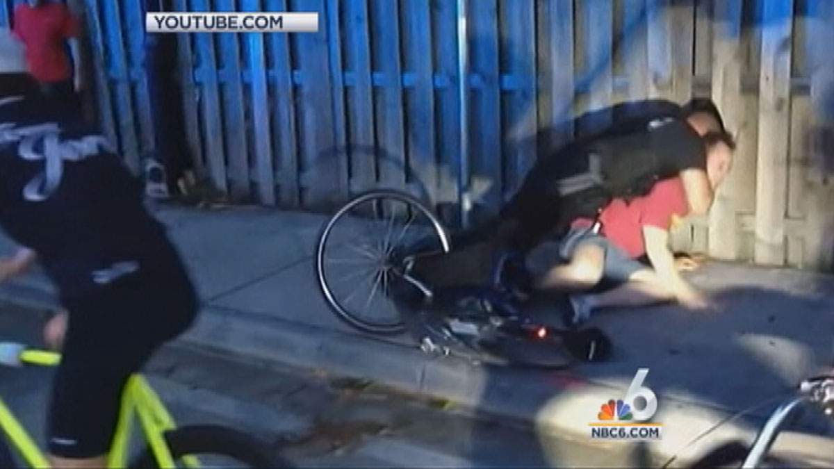 A cyclist claims police used excessive force when arresting him,