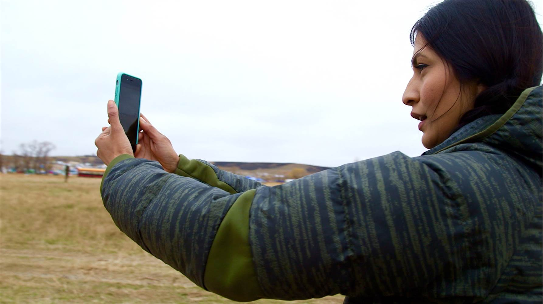 Ojibwe actor Tinsel Korey posts an update about the Dakota Access Pipeline protests to her social media followers on October 30, 2016.