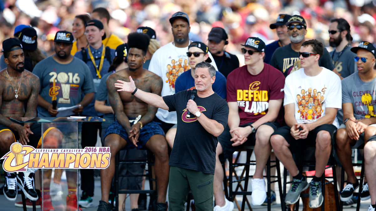 In this file photo, Dan Gilbert owner of the Cleveland Cavaliers gives a speech during the Cleveland Cavaliers Victory Parade And Rally on June 22, 2016 in Cleveland, Ohio. The Cavaliers announced that the supporting staff of the Quickens Loans Arena will also receive a version of the championship rings.