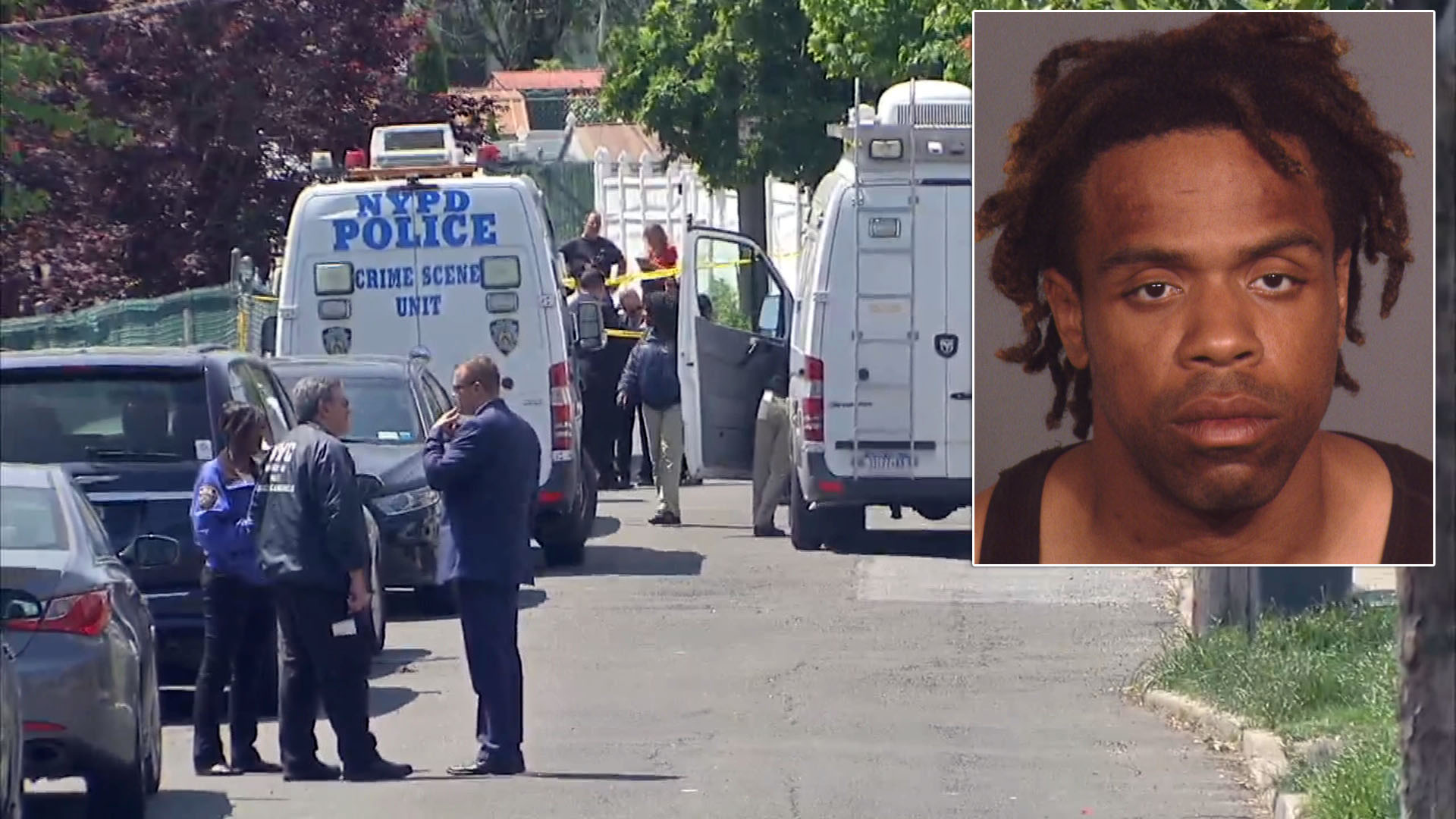 Police investigate after a man was spotted wheeling around a dead body Friday morning on Staten Island. Inset right is Anthony Lopez.