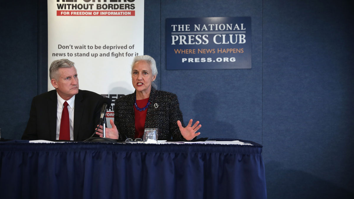 File Photo—Debra Tice (R) speaks as her husband Marc (L) looks on as they discuss their missing son Austin Tice, a journalist who has been missing in Syria since August, 2012, during a news conference at the National Press Club February 5, 2015 in Washington, DC.