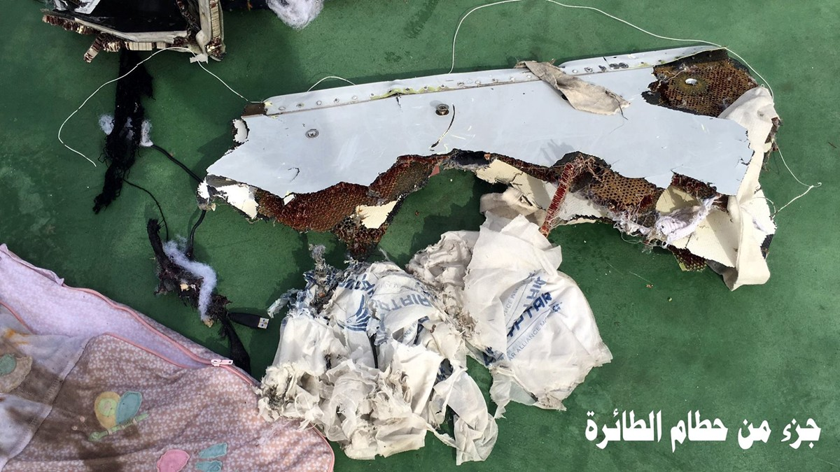 A handout image from the Egyptian military of debris recovered Friday from crashed flight EgyptAir MS804 Handout.