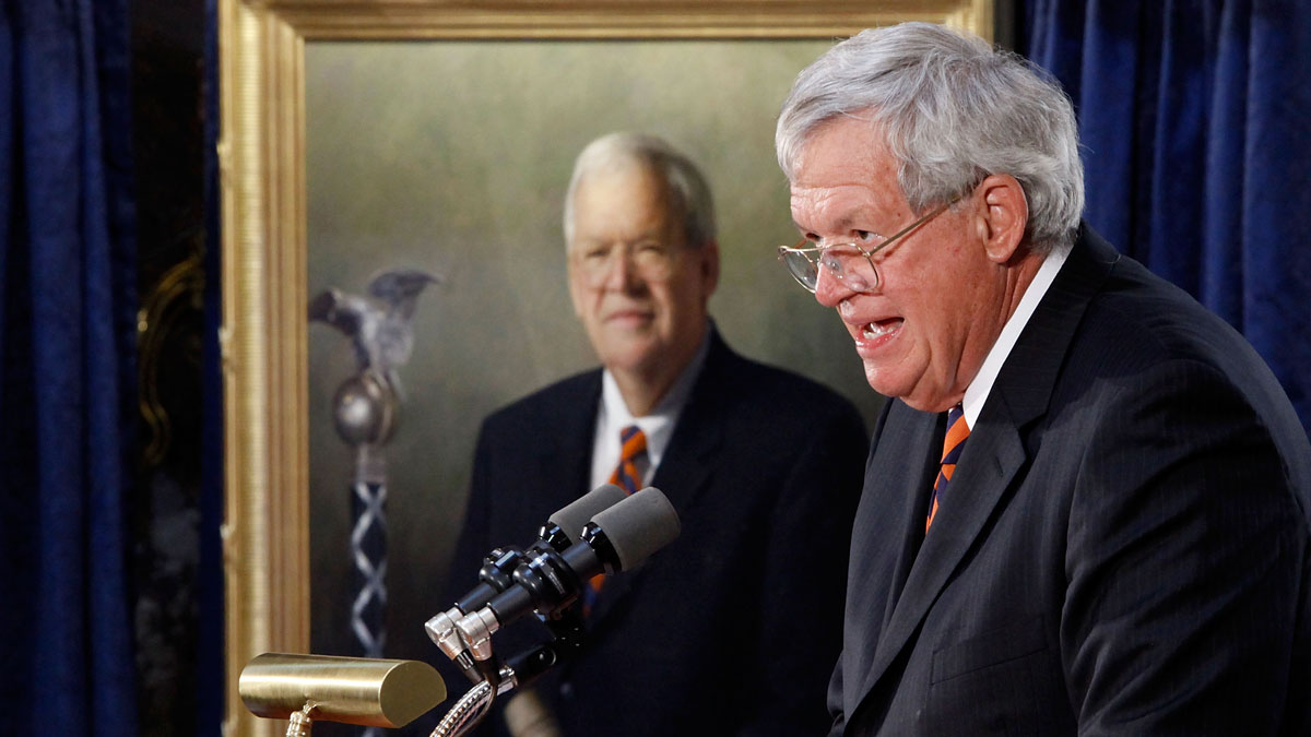 Former Speaker of the House Dennis Hastert of Illinois delivers remarks during the unveiling ceremony of his portrait at the U.S. Capitol July 28, 2009 in Washington, DC. Hastert is the longest serving Republican speaker from 1999-2007.