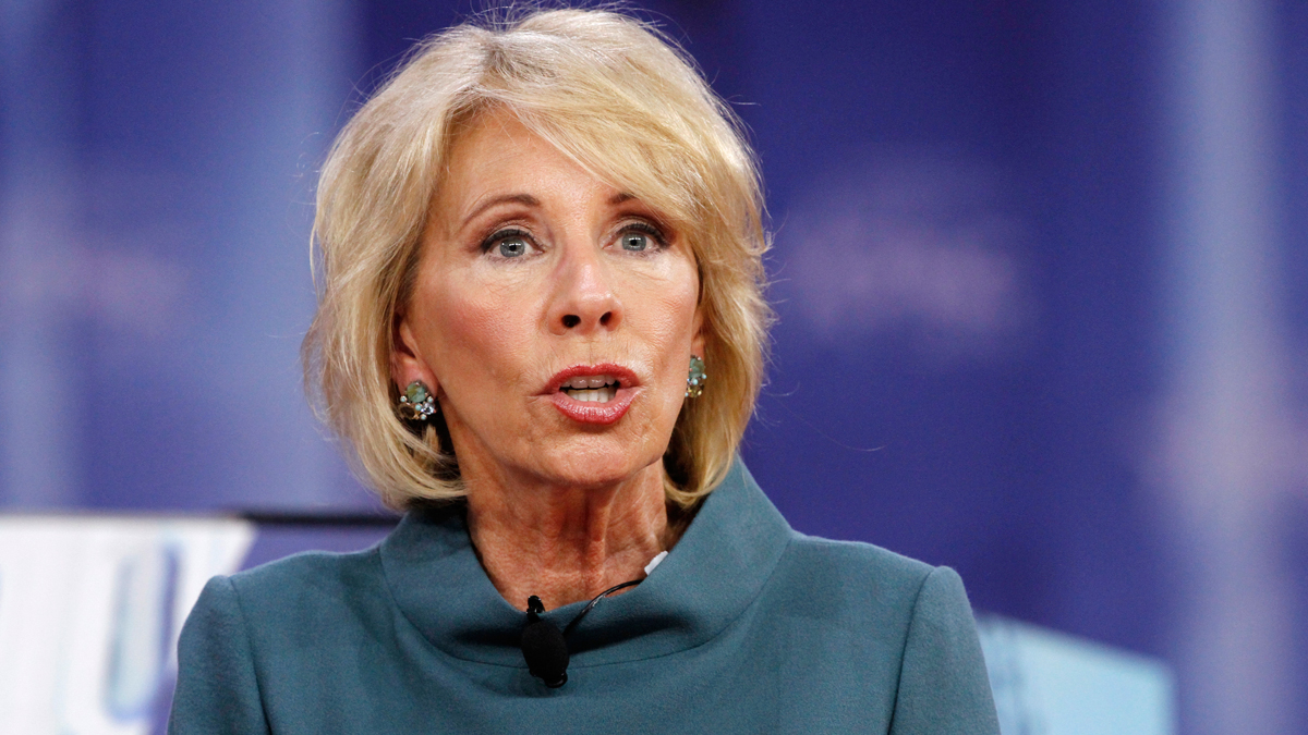 In this Feb. 22, 2018, file photo, Education Secretary Betsy DeVos speaks during the Conservative Political Action Conference at National Harbor, Md.