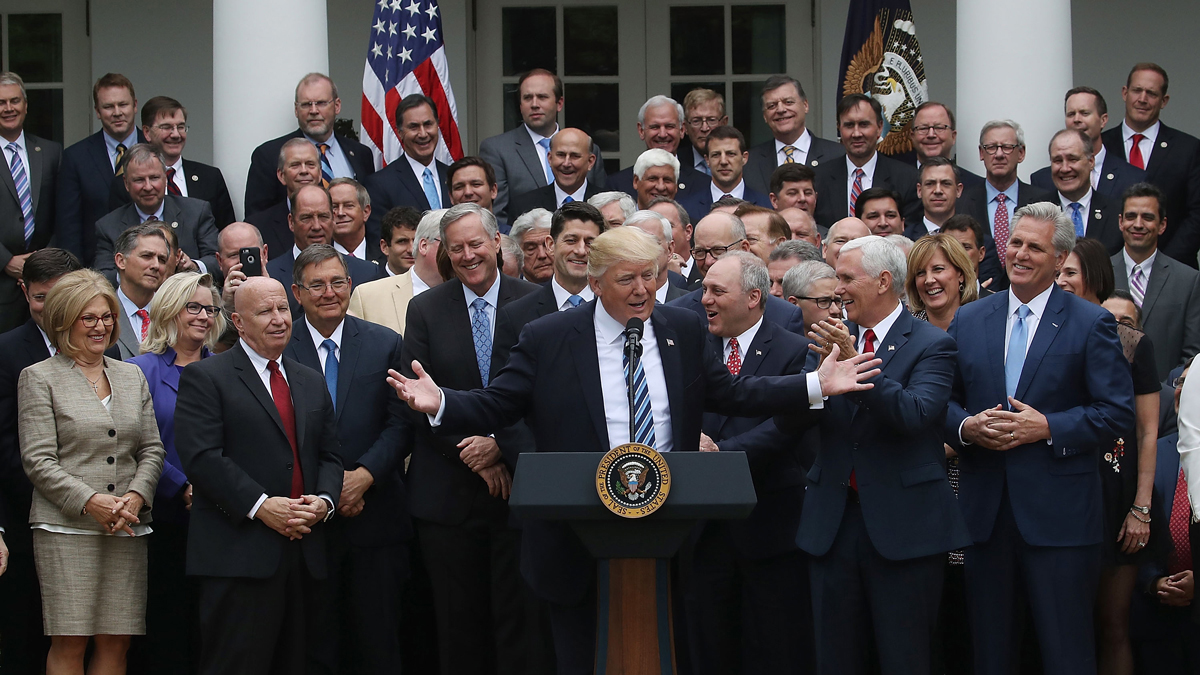 President Donald Trump speaks while flanked by House Republicans after they passed legislation aimed at repealing and replacing Obamacare, at the White House on May 4, 2017 in Washington, D.C.