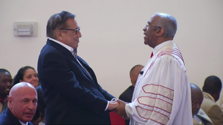 Donald Sterling attended a church service in South Los Angeles on Sunday, June 1, 2014. The church pastor said the embattled Los Angeles Clippers owner should be forgiven after making racist remarks.