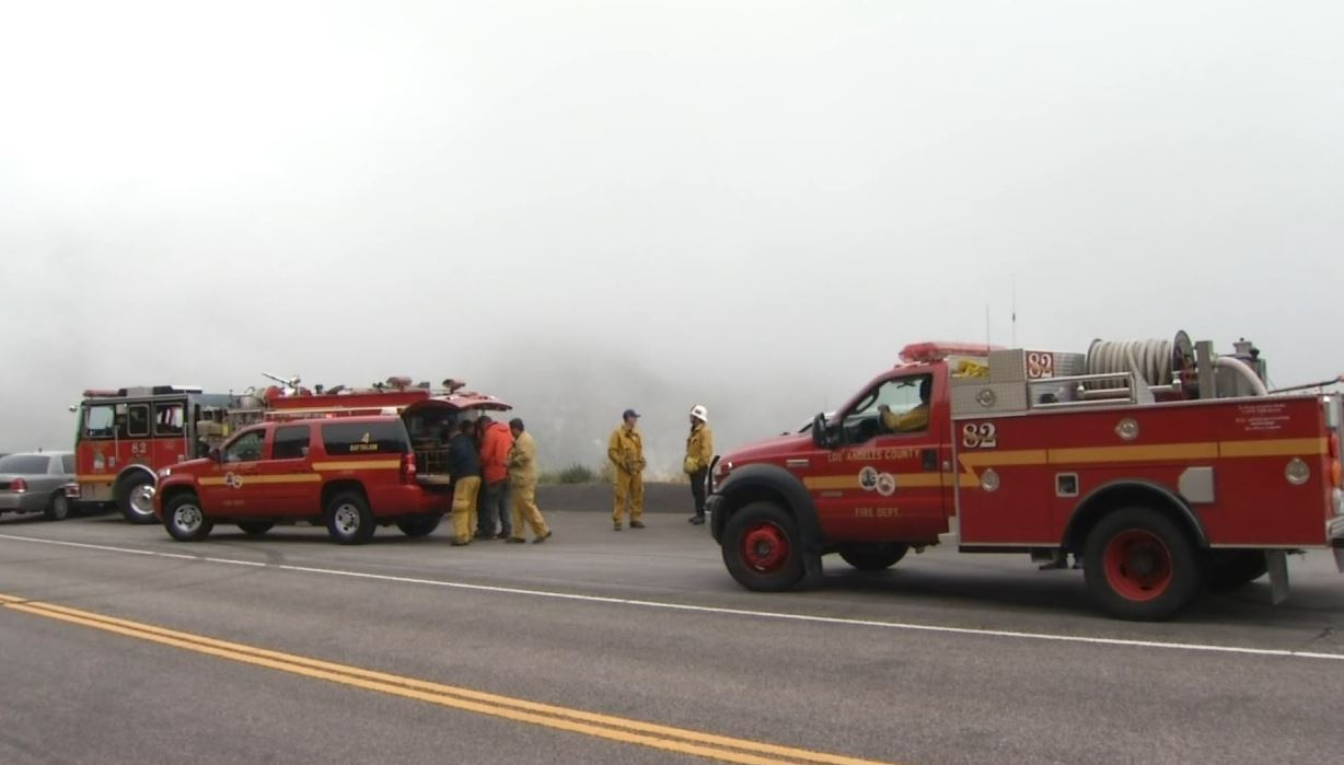 Authorities were searching for a small plane that went down in the Angeles National Forest amid heavy fog on Sunday, May 15, 2016.