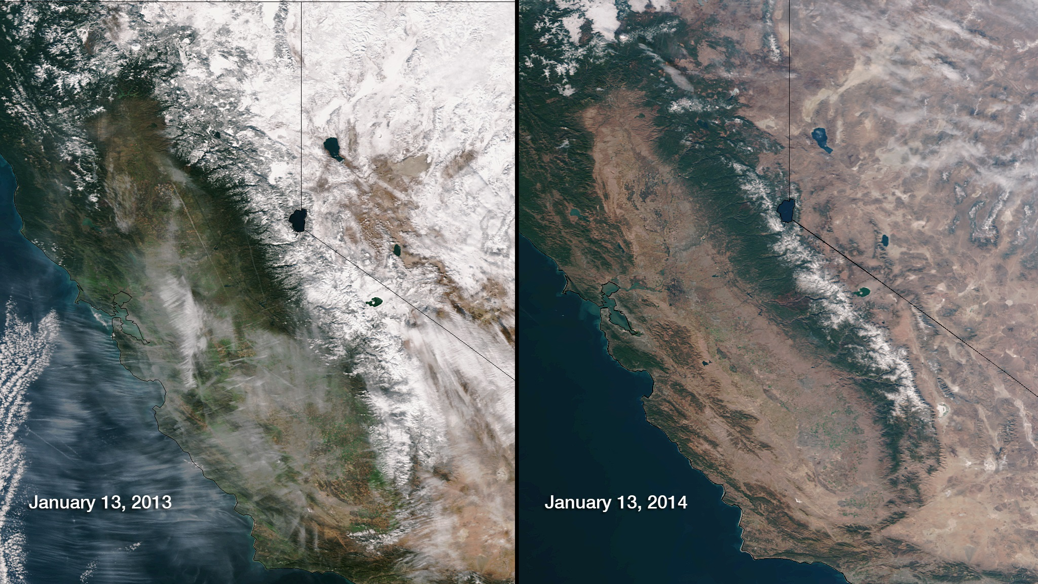 The drought in California as seen from space. The lack of snow at Lake Tahoe and in the Sierras is pronounced.