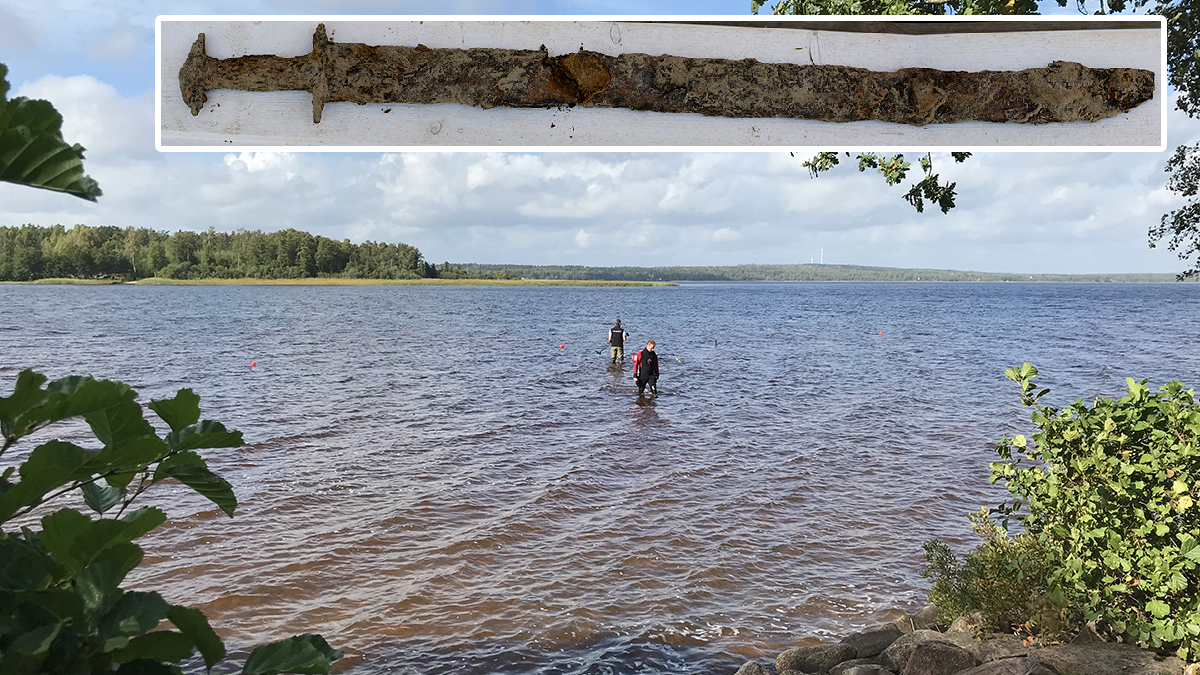These handout photos show a pre-Viking sword found by an 8-year-old girl in Vidostern lake in the summer of 2018 and archeologists with the Jönköping County Museum scouring the location for more.