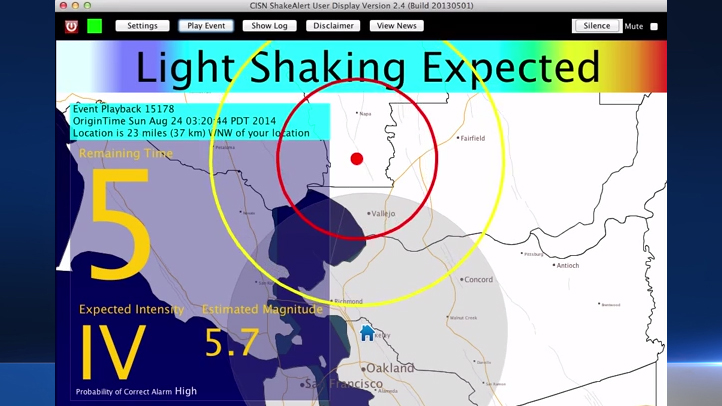 A still from a video posted to YouTube shows an early-warning system alerting scientists at the UC Berkeley Seismological Laboratory of imminent shockwaves from a temblor that struck in the Bay Area on Sunday, Aug. 24, 2014.