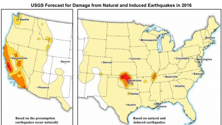 For the first time, the USGS is releasing maps that show the potential ground-shaking hazards from human-induced quakes. In the past, maps from USGS only identified earthquake hazards.