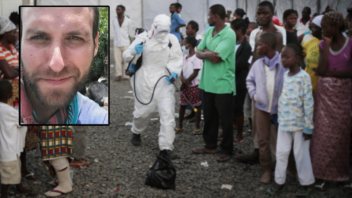 A medical worker sprays people being discharged from the Island Clinic Ebola treatment center in Monrovia, Liberia, Tuesday Sept. 30, 2014. Mukpo was working in Monrovia as a cameraman with NBC's Dr. Nancy Snyderman.