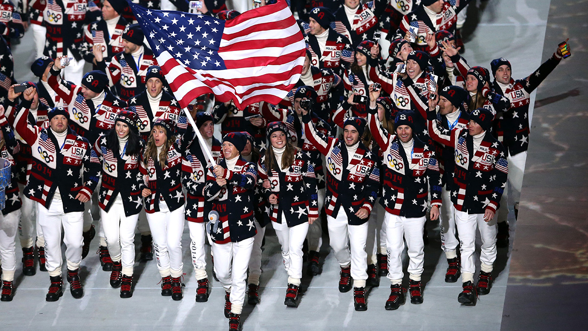 Nordic combined skier Todd Lodwick of the United States Olympic team carries his country's flag during the Opening Ceremony of the Sochi 2014 Winter Olympics at Fisht Olympic Stadium on February 7, 2014 in Sochi, Russia.