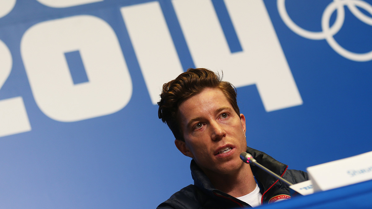 Shaun White of USA attends a press conference of the US snowboard team at Gorki media center in Krasnaya Polyana near Sochi, Russia on Feb. 5, 2014.