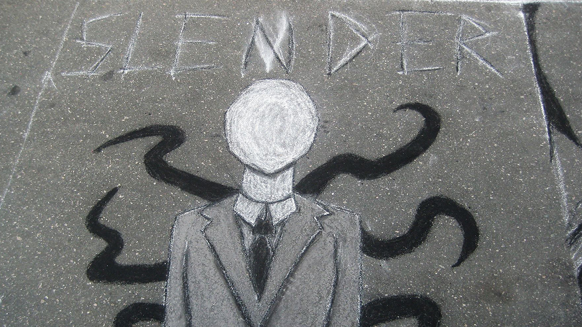A graffiti depiction of Slender Man.