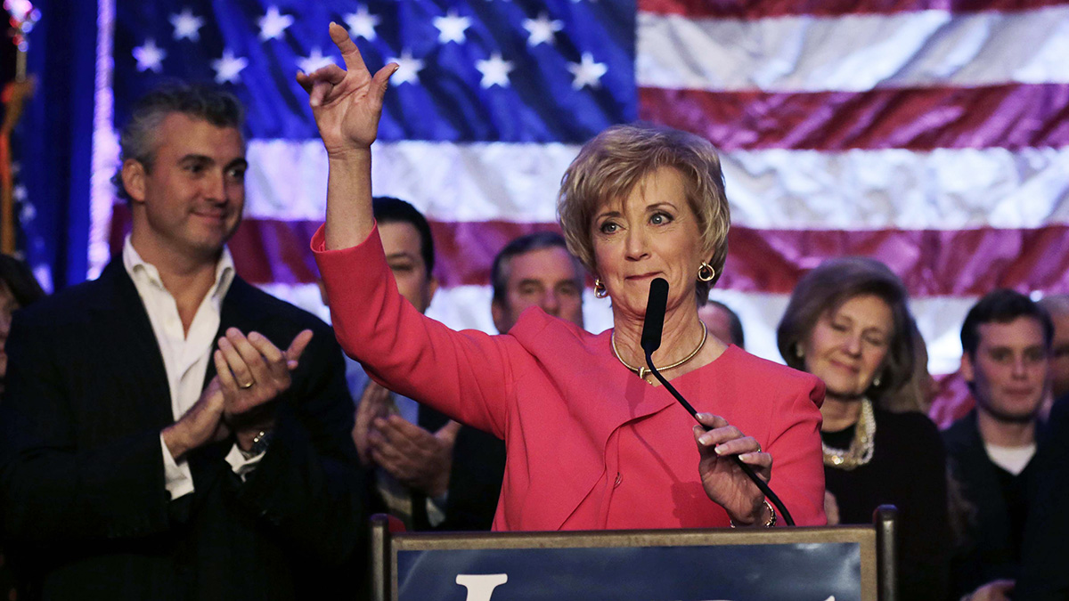 Republican candidate for U.S. Senate Linda McMahon waves as she thanks supporters in Stamford, Conn., on Tuesday, Nov. 6, 2012. McMahon conceded the race to Democratic opponent Chris Murphy for the Senate seat now held by Joe Lieberman, an independent who's retiring. (AP Photo/Charles Krupa)