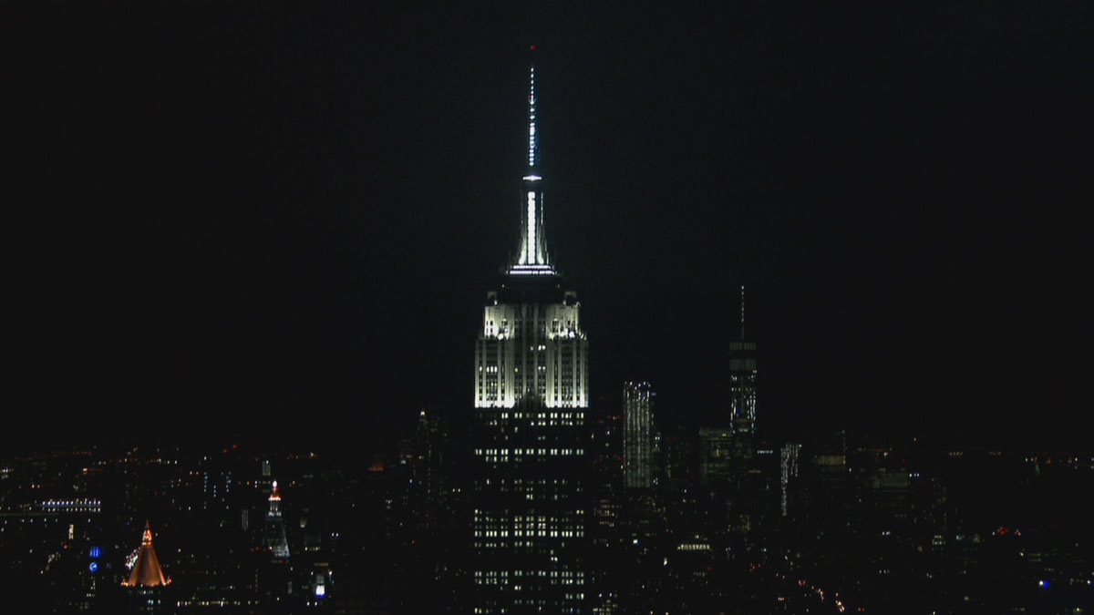 The Empire State Building moments before dimming for Earth Hour on Saturday night.
