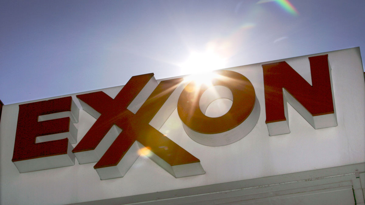 FILE - This Oct. 26, 2006, file photo shows an Exxon logo at a gas station in Dallas.