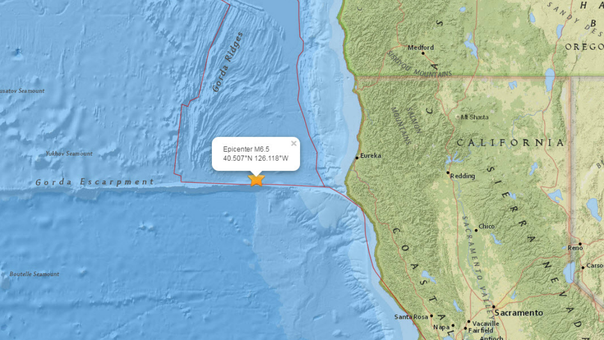 An earthquake struck 100 miles off the coast of Ferndale, California, Thursday, December 8, 2016.