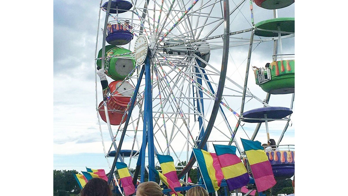 Six-year-old Briley Rae Reynolds suffered a traumatic brain injury in the fall from the Ferris Wheel on Monday and her 10-year-old sister, Kayla, broke her arm. Kayla and an unidentified 16-year old have been released from the hospital, but Briley Rae remained in critical condition.