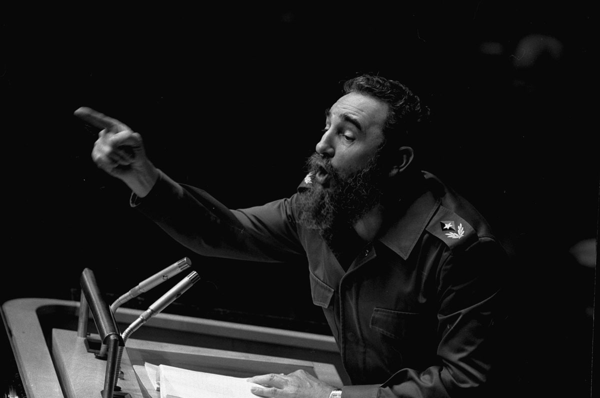 n this Oct. 12, 1979 file photo, Cuban President, Fidel Castro, points during his lengthy speech before the United Nations General Assembly, in New York. The man who nationalized the Cuban economy and controlled of virtually every aspect of life on the island died Friday.