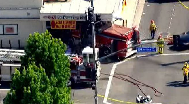 A fire truck crashed into a Monterey Park restaurant on Wednesday, April 16, 2014.