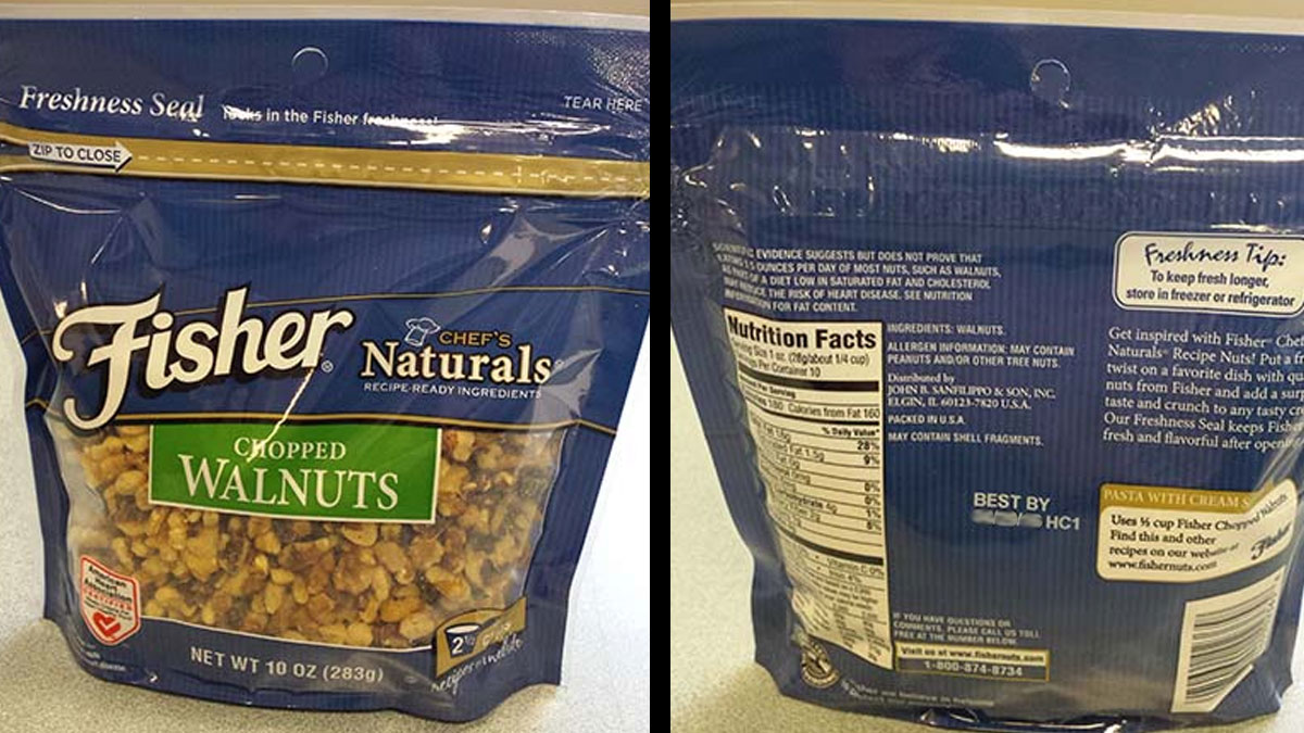 Fisher brand chopped walnuts in 10 ounce bags are being recalled over salmonella fears.