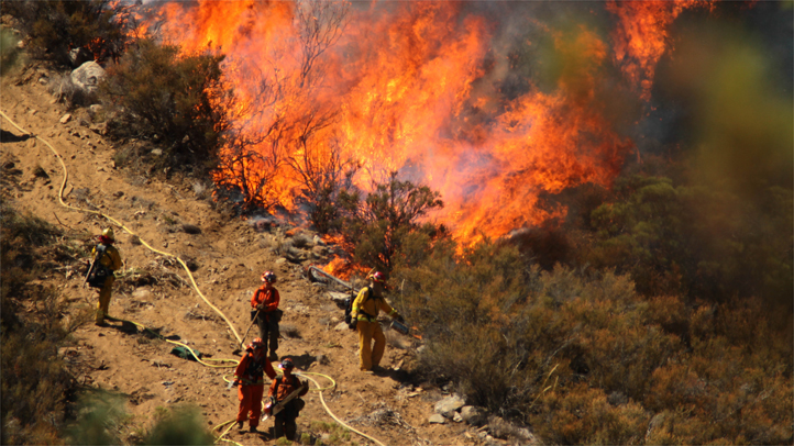 A female inmate hand crew from and firefighters in an engine company with them set fire to reinforce the line to stave off part of the Mountain Fire burning up a hill toward them on Tuesday, July 16, 2013.