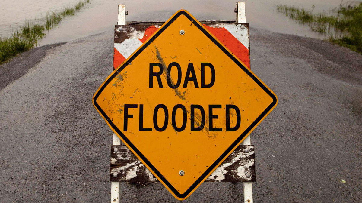 A sign blocks a flooded road April 27, 2011 in Vienna, Illinois.