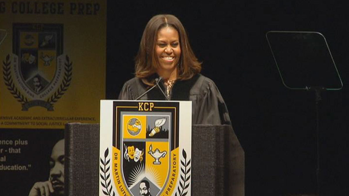 First Lady Michelle Obama delivers the commencement address at King College Prep's graduation ceremony at the Emil and Patricia A. Jones Convocation Center at Chicago State University on June 9, 2015.