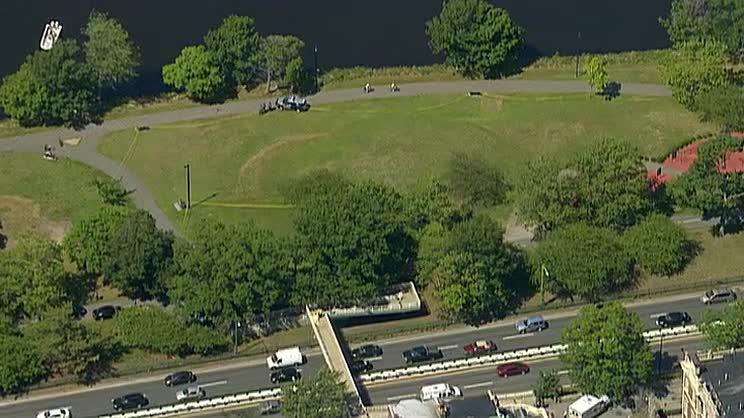 Aerial footage of the scene of Friday's shooting in Boston.