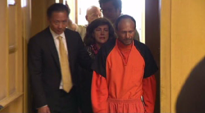 Juan Francisco Lopez-Sanchez pleads not guilty to the shooting death of Kate Steinle on Pier 14 in San Francisco, while standing next to Asst. Public Defender Jeff Adachi (right) in court on Tuesday, July 7, 2015.