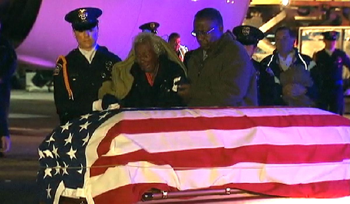 Clara Gantt at a ceremony for her husband, killed in the Korean War, Friday Dec. 20, 2013.