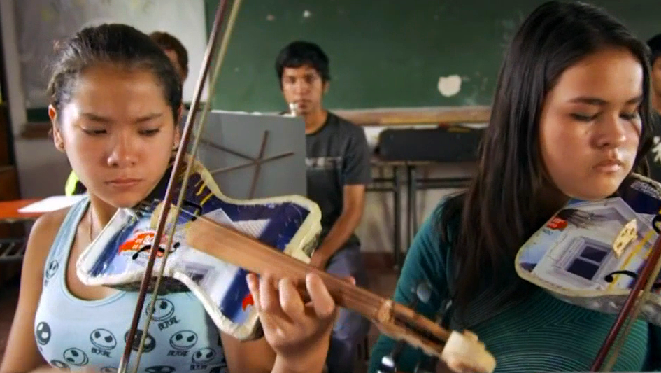 A world-renowned youth orchestra that plays instruments literally made of trash visited an East LA school to show students how something great can come from anything on Wednesday, Sept. 21, 2016.