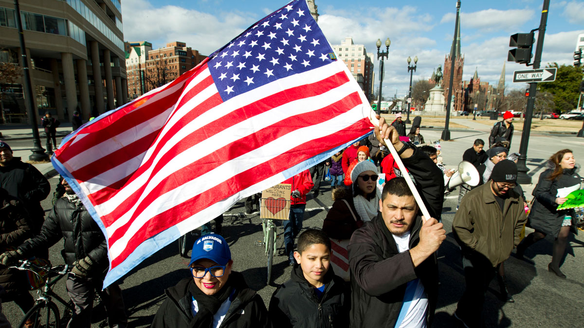 File Photo—Supporters of immigrants' rights march downtown during an immigration protest Thursday, Feb. 16, 2017, in Washington.
