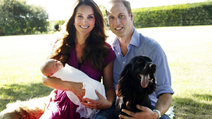 The Duke and Duchess of Cambridge and Prince George are pictured in the garden in the garden of the Middleton family home in Bucklebury, Berkshire, in early August with a retriever called Tilly, a Middleton family pet, and with Lupo, the couple's cocker spaniel.