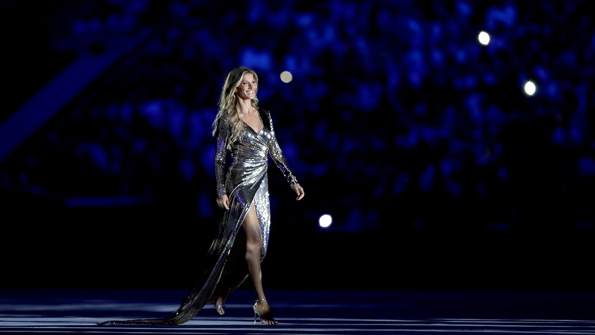 Supermodel Gisele Bundchen walks as The Girl From Ipanema during the Bossa segment during the Opening Ceremony of the Rio 2016 Olympic Games at Maracana Stadium on Aug. 5, 2016 in Rio de Janeiro, Brazil.