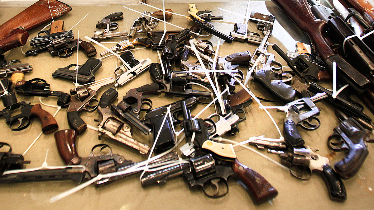 Firearms are seen at a gun buyback program on May 18, 2013 in Detroit, Michigan.