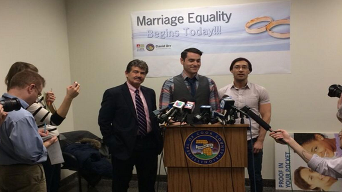 Charlie Gurion and David Wilk on Friday became Cook County's first gay couple to get a marriage license.