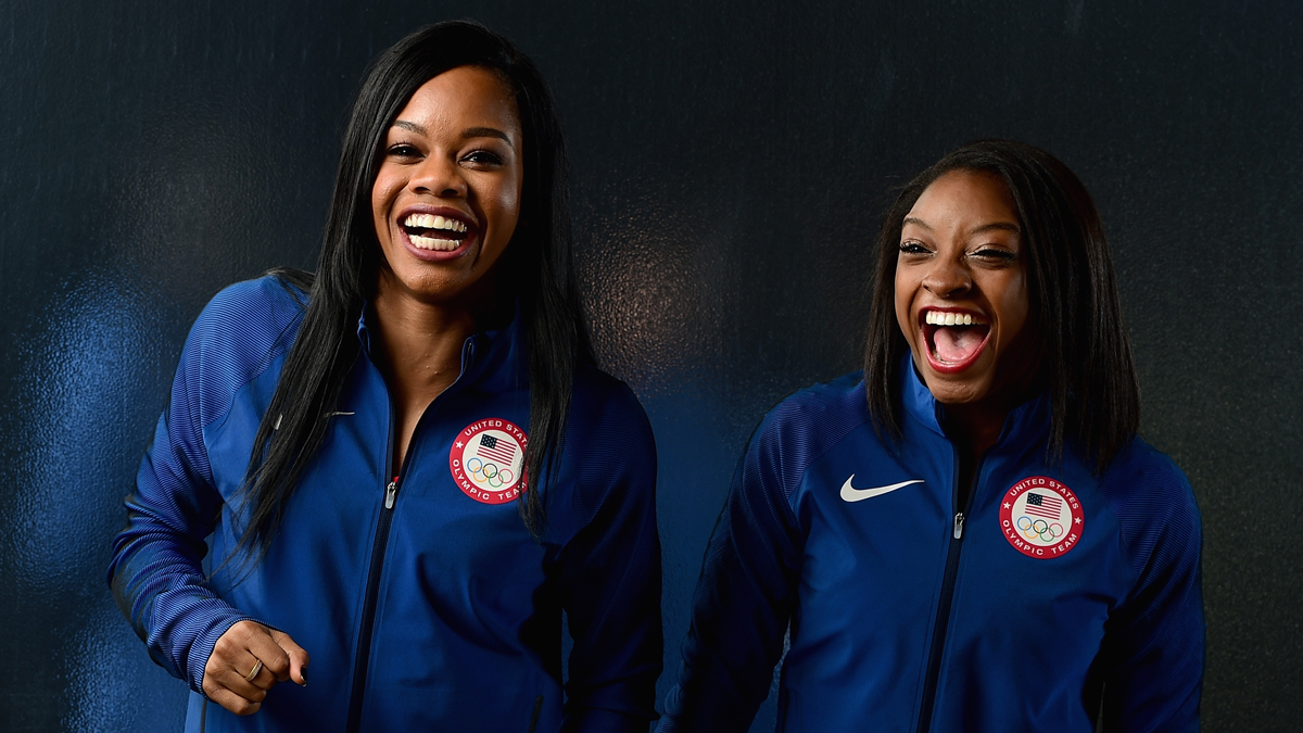 Gymnasts Gabby Douglas and Simone Biles on November 20, 2015 in Los Angeles, California.