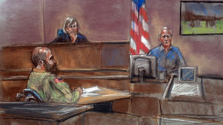 In this drawing, defense witness Steven Bennett takes the stand as the prosecutions case draws to a close.