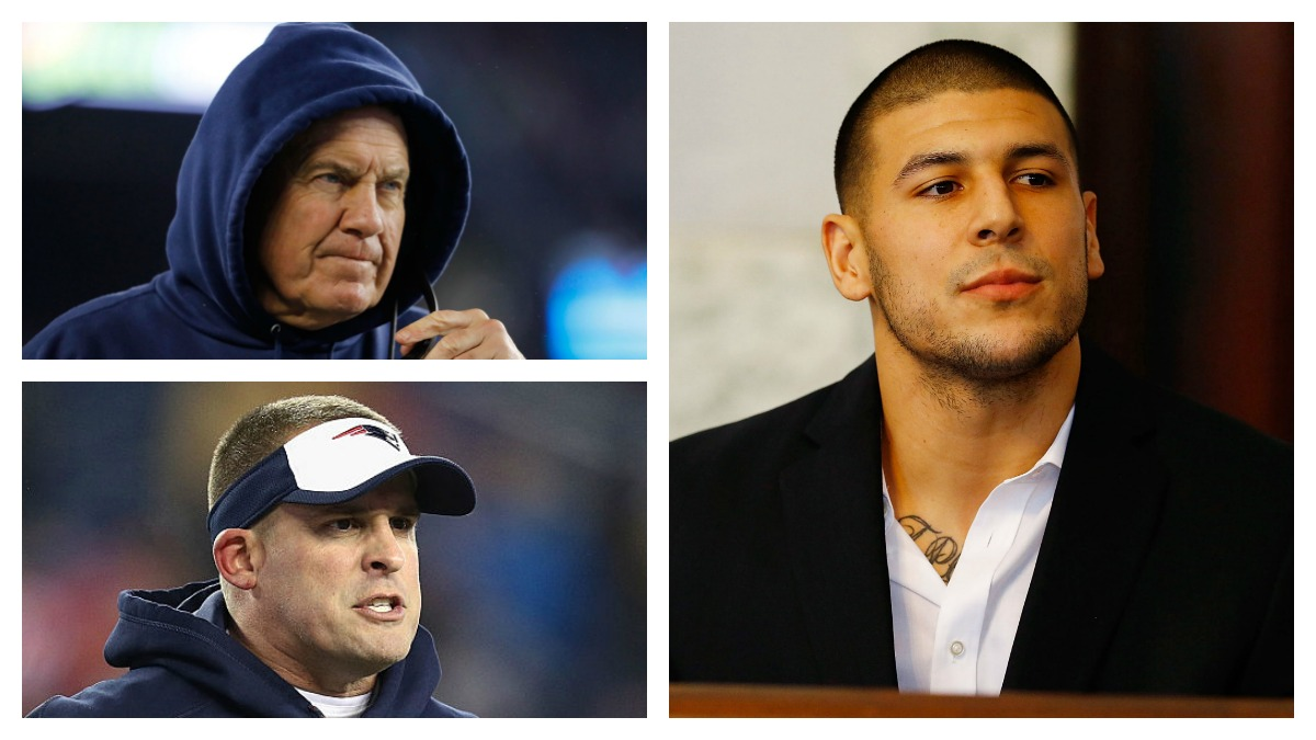 Clockwise, from bottom left, Josh McDaniels and Bill Belichick could be called as witnesses in the double-murder trial of former New England Patriots tight end Aaron Hernandez.